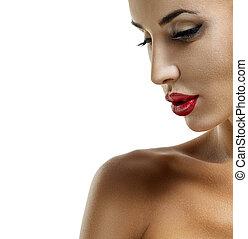 menina, beleza, lips., vermelho, excitado