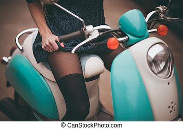 menina, bicicleta, assento, moto