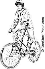 menina, bicicleta