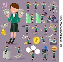 menina, blazer, dinheiro, verde, apartamento, tipo, escola
