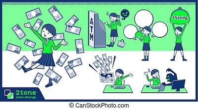 menina, blazer, jogo, 12, verde, 2tone, tipo, escola