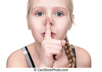 menina, boca, dedo