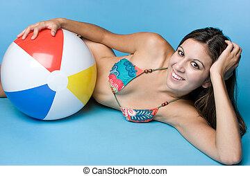 menina, bola, praia