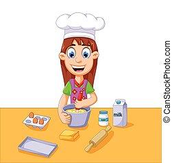 menina, bolo, caricatura, fazer, engraçado