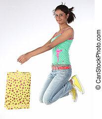 menina, bolsas para compras, adolescente