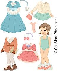 menina, boneca papel, roupas inverno