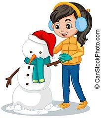 menina, boneco neve, fazer, roupas, inverno