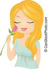 menina bonita, cheiro, flor, rosa