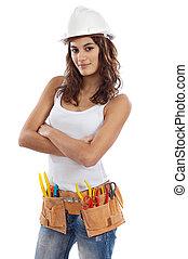 menina bonita, com, capacete, e, cinto, de, ferramentas