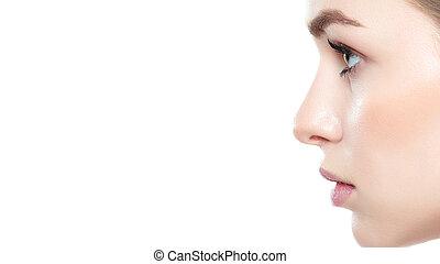 menina bonita, com, olhos azuis, e, cabelo loiro, com, pelado, ombros, perfil, portrait., modelo, com, luz, pelado, maquiagem, isolado, branco, fundo