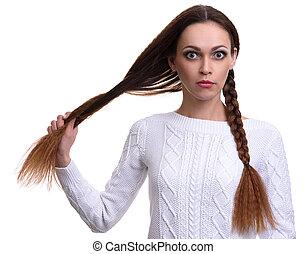 menina bonita, com, trançado, dela, cabelo