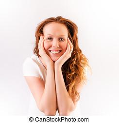 menina bonita, com, um, sorriso grande, queixo, em, dela, mãos