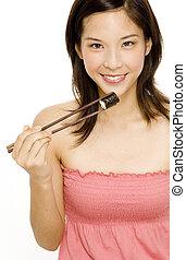 menina bonita, comer, alimento japonês