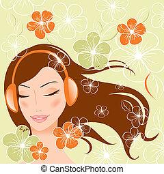 menina bonita, headphones., ilustração, vetorial