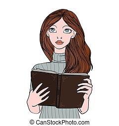 menina bonita, leitura, um, book.., mulher jovem, portrait., vetorial, ilustração, isolado, branco, experiência.