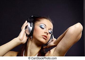 menina, bonito, música, jovem, escutar