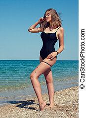 menina, bonito, praia