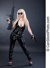 menina, bonito, rifle, excitado