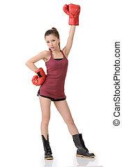 menina, boxe, chinês
