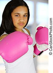 menina, boxe