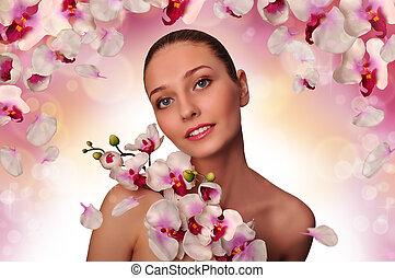 menina, branca, orquídea