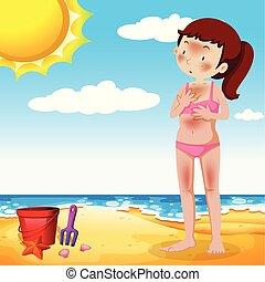 menina, bronzeando, praia