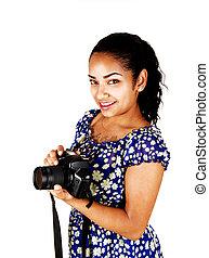 menina, câmera.