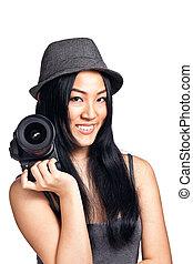 menina, câmera, posar, jovem, asiático
