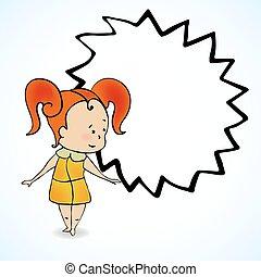menina, cabelo, ilustração, vetorial, vermelho