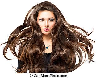 menina, cabelos formam, soprando, modelo, retrato, longo