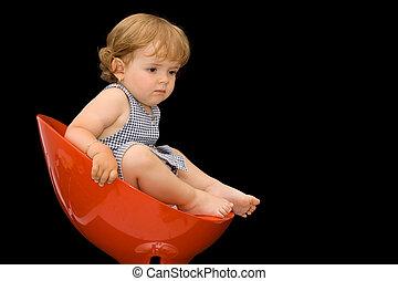 menina, cadeira, plástico