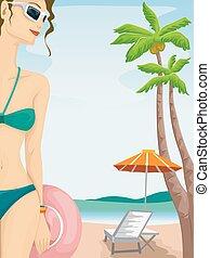 menina, cadeira praia, swimsuit