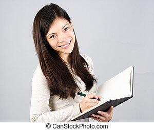 menina, caderno, escrita