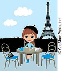menina, café, bonito, parisian