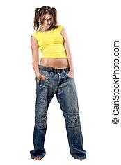 menina, calças brim, jovem, agradável