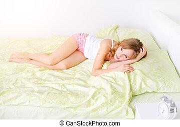 menina, cama, bonito, mentindo