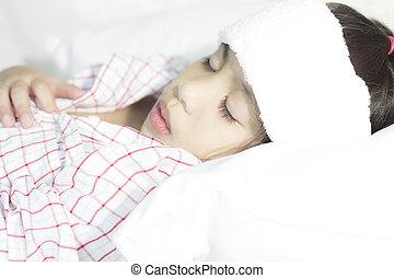 menina, cama doente