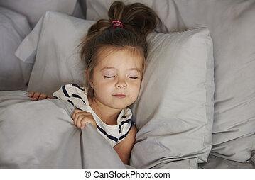 menina, cama, dormir