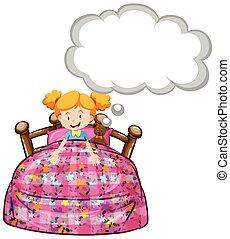 menina, cama, urso, pelúcia
