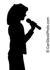 menina, cantando, criança