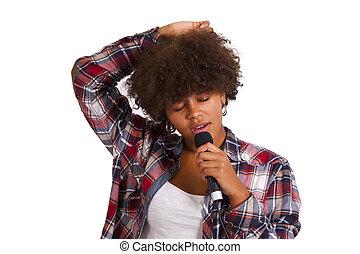 menina, cantando, isolado, branco, fundo