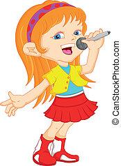 menina, cantando, jovem