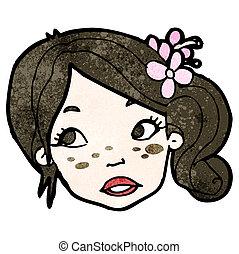 menina, caricatura, bonito