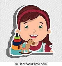 menina, caricatura, brinquedos