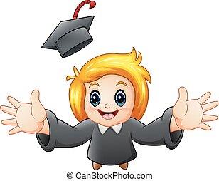 menina, caricatura, graduação