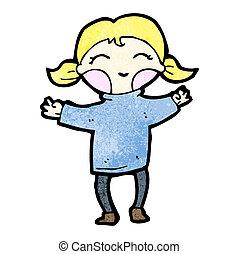 menina, caricatura, loura, feliz