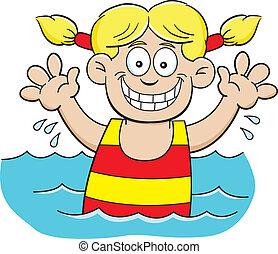 menina, caricatura, natação
