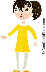 menina, caricatura, preocupado