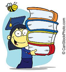 menina, carregar, livros, pilha