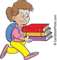 menina, carregar, livros